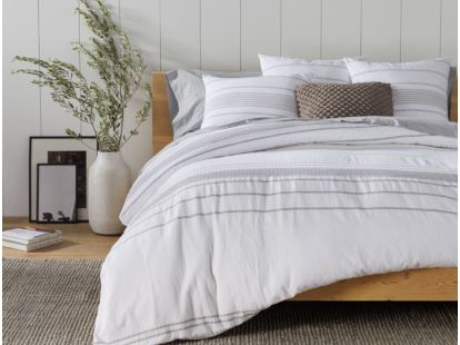 Rippled Stripe Organic Duvet Cover