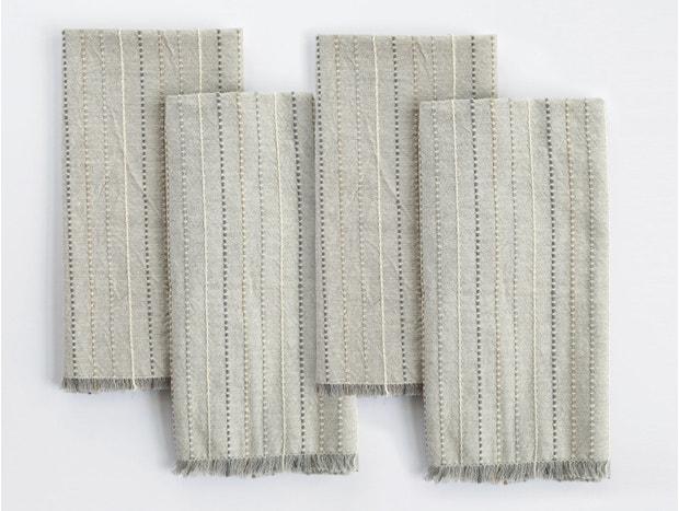Fringe Stripe Organic Napkin, Set of 4