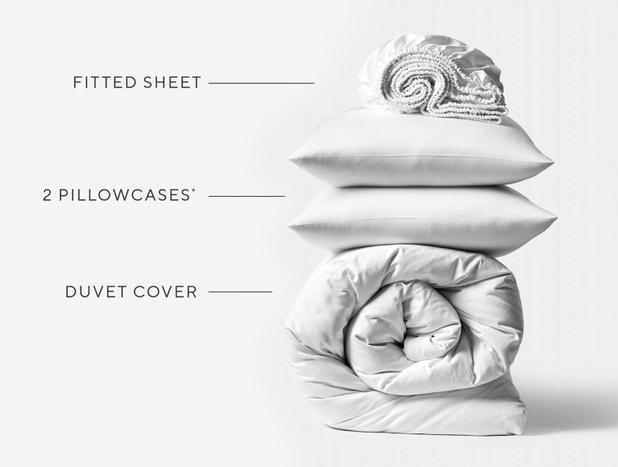 Stacked shot of fitted sheet, two pillowcases and a rolled duvet cover