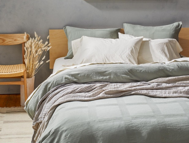 Indio Textured Grid Organic Duvet Cover