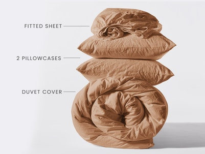 Stacked shot of fitted sheet, 2 pillowcases and a rolled duvet cover