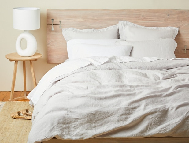 Organic relaxed linen duvet cover, shams and sheets styled on a bed