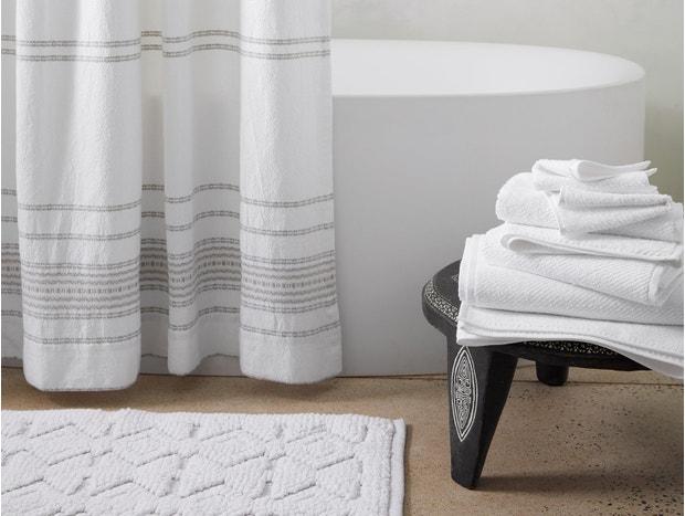 Rippled Stripe Organic Shower Curtain
