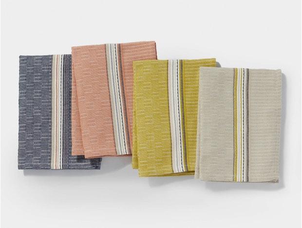Textured Grid Organic Kitchen Towel, Set of 4
