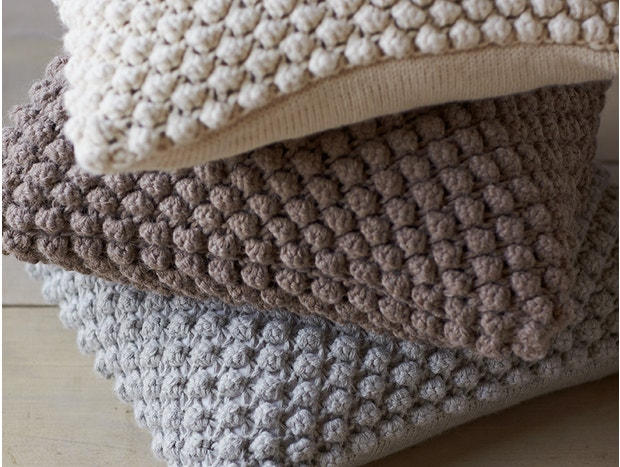 Undyed Alpaca Pebble Knit Pillow Cover