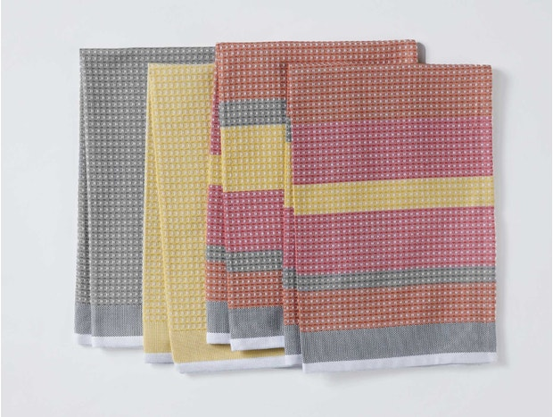 Striped Waffle Organic Kitchen Towels, Set of 4