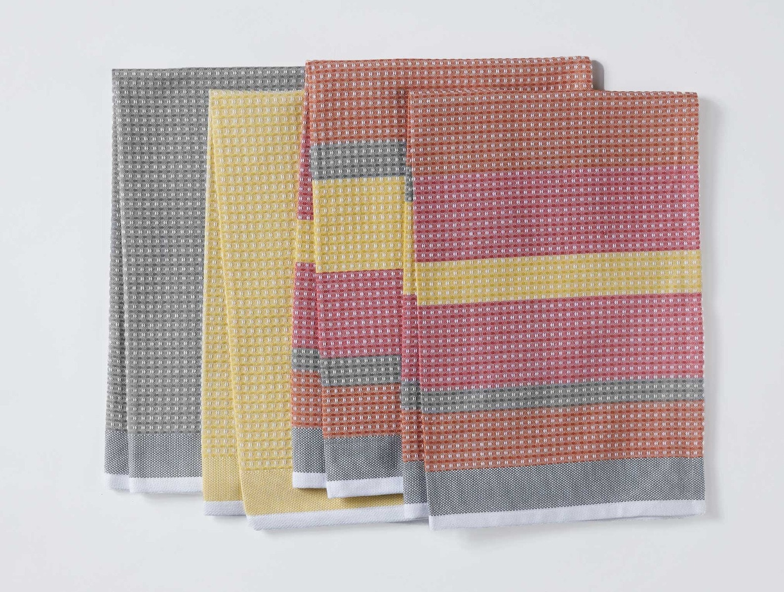 Striped Waffle Organic Kitchen Towels, Set Of 4
