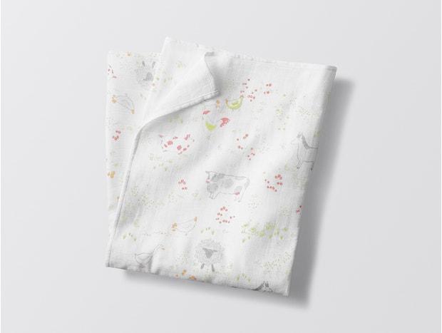 Barnyard Print Organic Swaddle Blanket