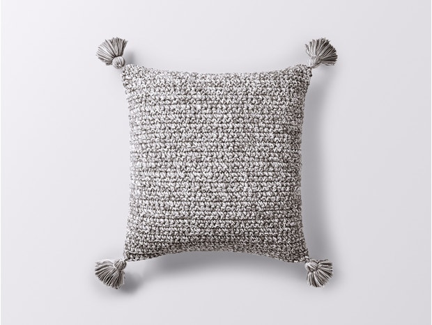 Crocheted Tassel Organic Pillow Cover