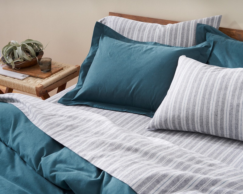 aegean cloud brushed flannel organic duvet and sham styled with cloud brushed flannel organic striped sheets