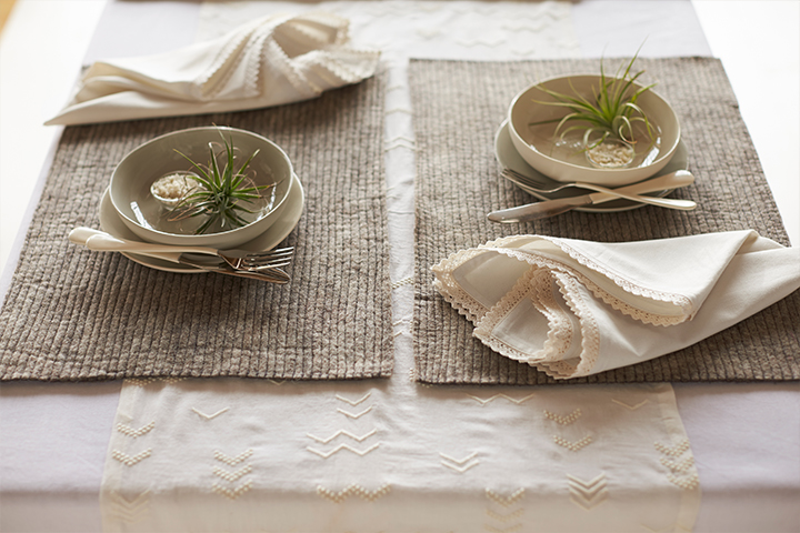 Grand Lace Napkins and Stitched Felt Placemats in Natural