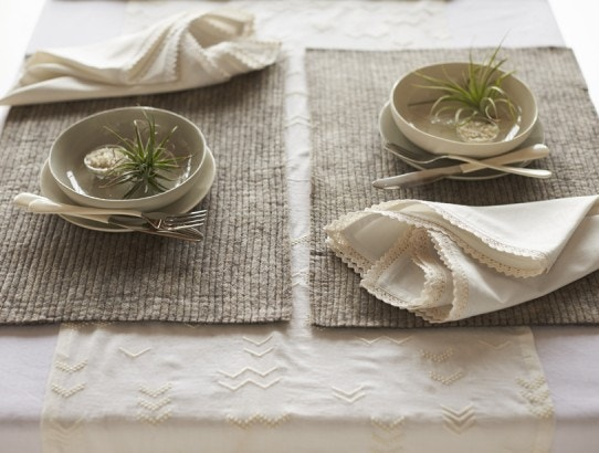 air plants on stitched felt placemats with grand lace napkins