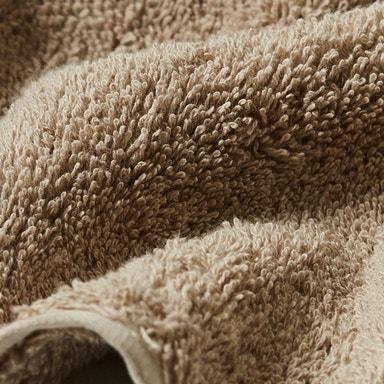 detail shot of cloud loom towel in taupe