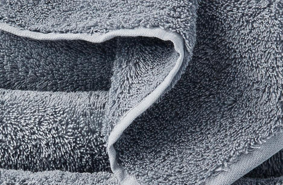 detail shot of cloud loom towel in steel blue