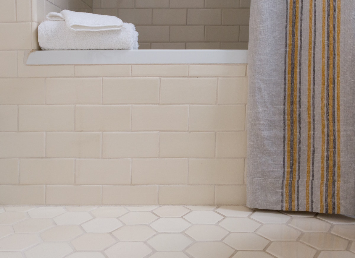 Pictured Above Is Coyuchis Cloud Loom Towels In Alpine White And Rustic Linen Shower Curtain Pewter With Tangerine Deep Slate