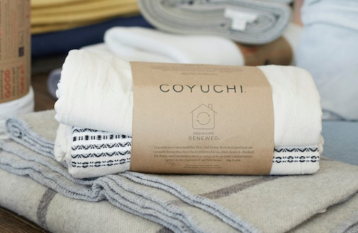 packaged duvet cover with 2nd Home Renewed label