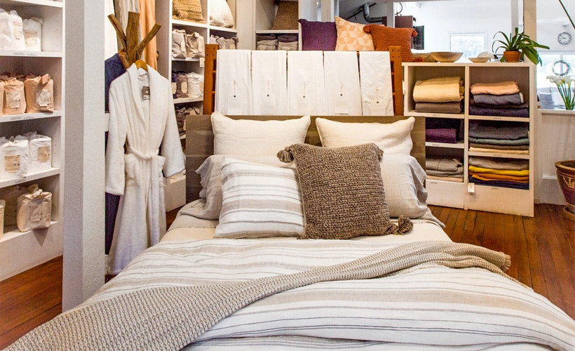Bed with La Jolla duvet located in Point Reyes store