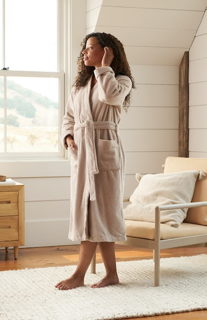 woman wearing Unisex Airweight Organic Robe