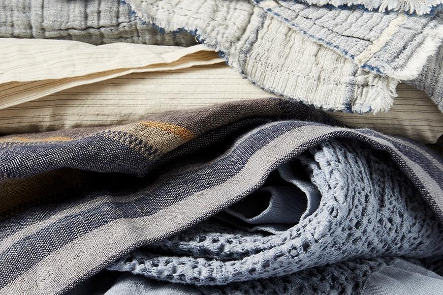stack of Coyuchi linens