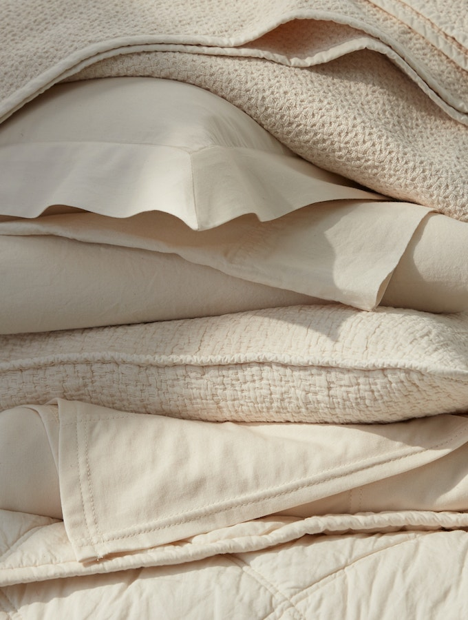 stack of undyed bedding