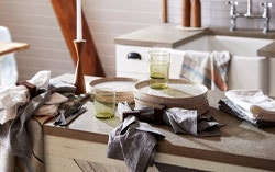 Organic linen napkins on kitchen table