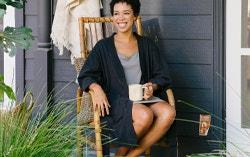 Woman in organic waffle robe