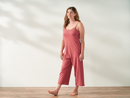 Model wearing Solstice Organic Romper