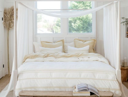 Ventura bedding on canopy bed
