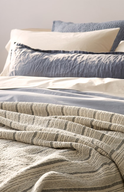 Cascade Organic Blanket styled with 300 Thread Count Organic percale sheets