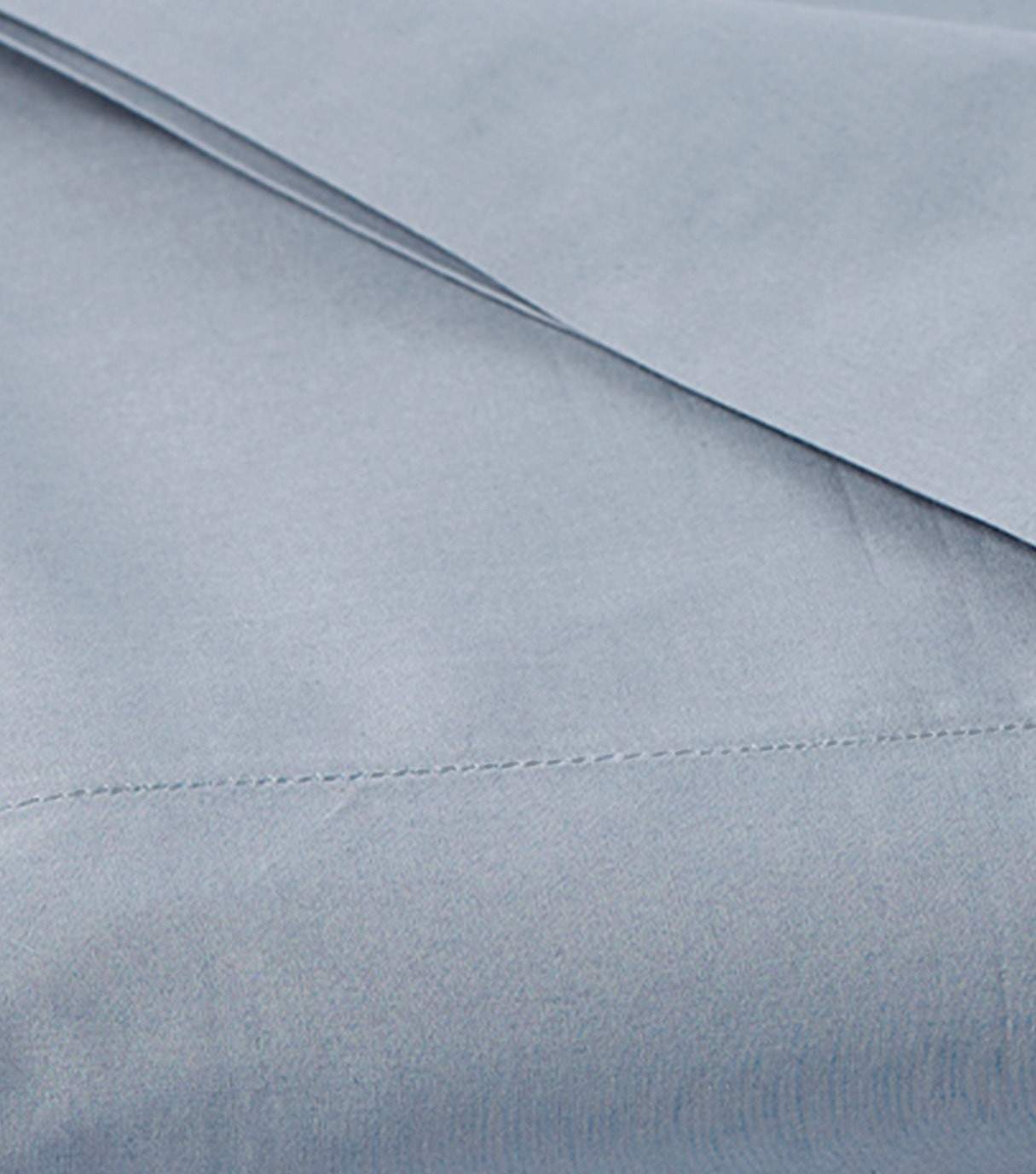 detail of 300 Thread Count Organic Percale Sheets in Steel Blue