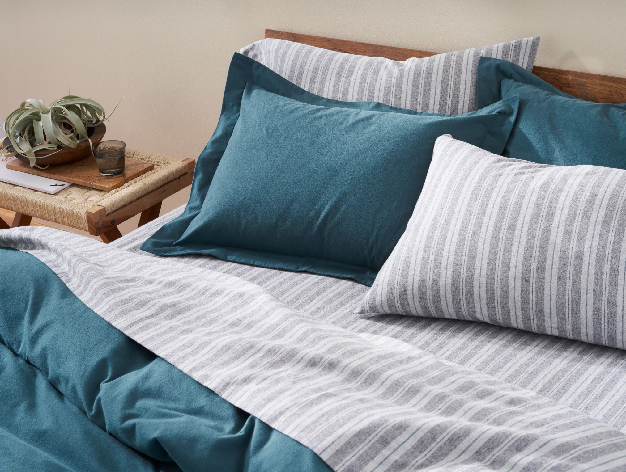 Striped Cloud Brushed Organic Flannel Sheets with Cloud Brushed Organic Flannel Duvet Cover and Shams in Aegean