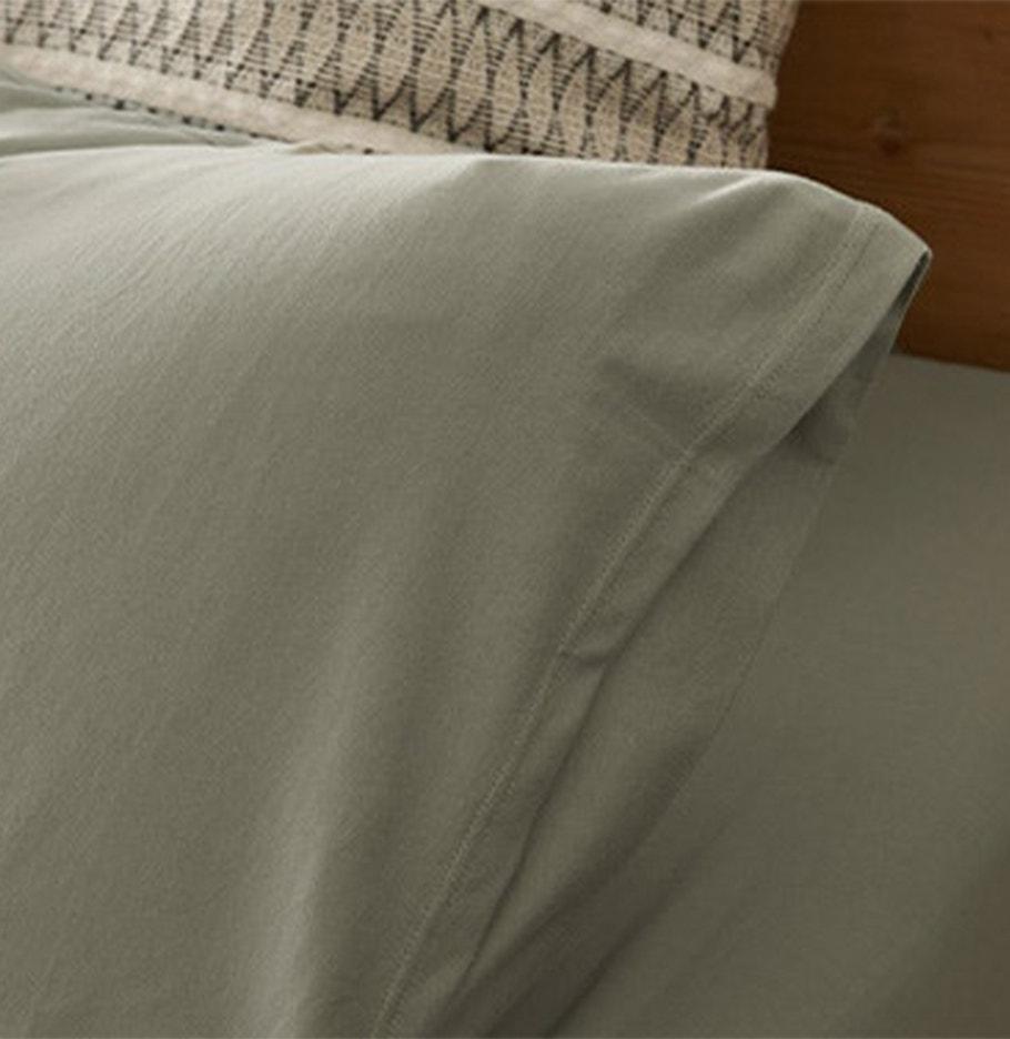 detail shot of Organic Jersey Sheets in Laurel