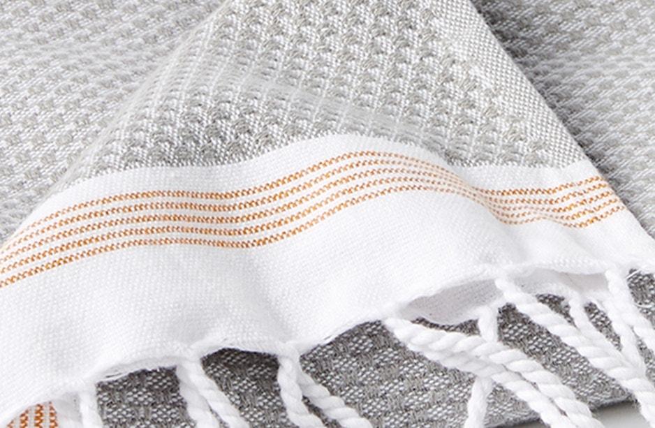 close up detail of mediterranean towel in deep pewter