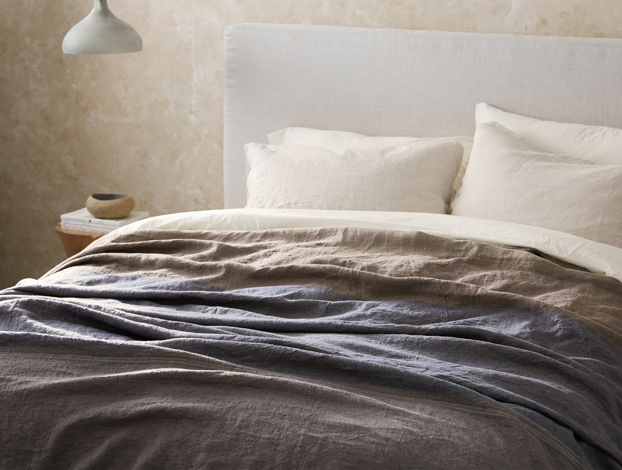 Mojave Organic Linen Blanket styled with Organic linen sheets