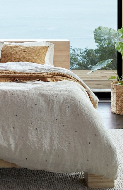 Scattered Embroidered Organic Linen Duvet Cover