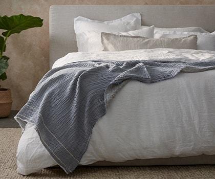 Topanga Organic Matelasse Blanket on bed