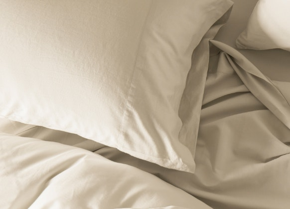 overhead of 300 Thread Count Organic Sateen Sheets in Undyed