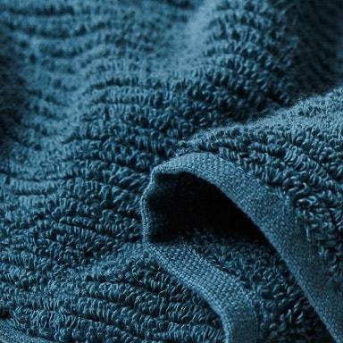 close up detail of temescal towel in deep aqua