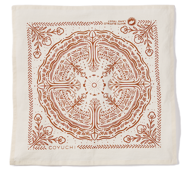 White Buffalo Bandana Napkin in rust and undyed