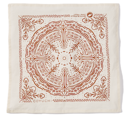White Buffalo Land Trust Bandana napkin in rust/undyed