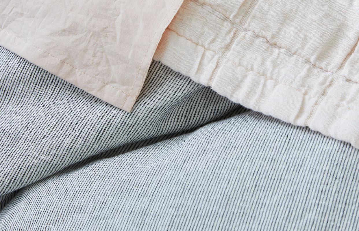 Organic Linen Chambray Charcoal Stripe