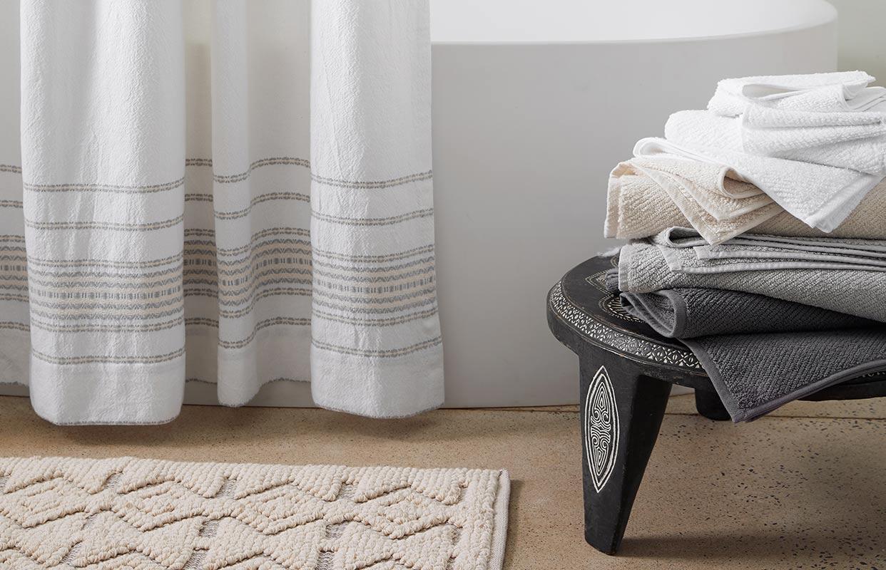 Organic Rippled Stripe Shower Curtain
