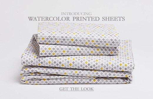 Shop New Watercolor Printed Sheet Sets