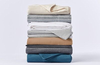 stack of Cloud Brushed™ Organic Flannel Sheets