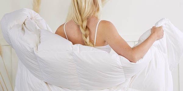 woman wrapped in duvet insert