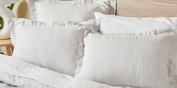 organic linen chambray bedding in fog