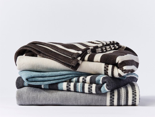 stack of Mariposa Supersoft Organic Waffle blankets