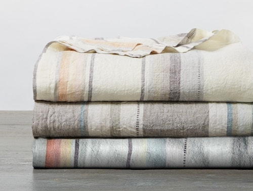 stack of Mojave Organic Linen Blankets