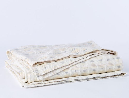 folded Monrovia Organic Matelasse blanket