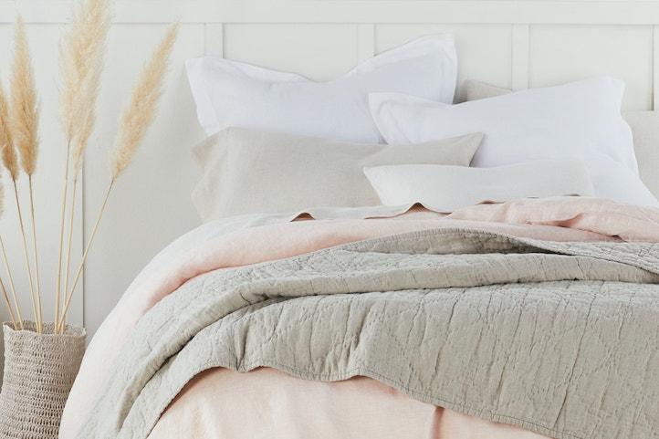 Blush chambray organic styled bed